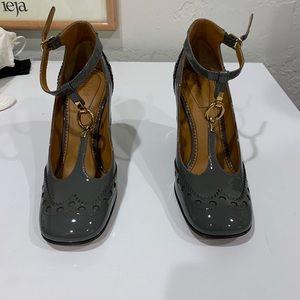 Chloe gray patten leather heels square toe